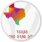 Texas State Map Collection 2 Round Beach Towel
