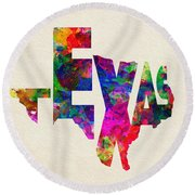 Texas Typographic Watercolor Flag Round Beach Towel