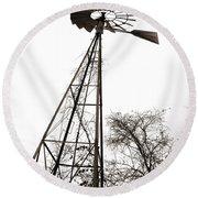 Texas Windmill 2 Round Beach Towel