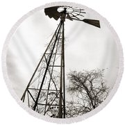 Texas Windmill Round Beach Towel