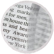 Text And Eyeglasses Round Beach Towel