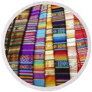 Textile Market Otavalo Ecuador Round Beach Towel