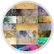 Texture Collage Round Beach Towel