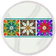 Textured Flower Kaleidoscope Triptych Round Beach Towel
