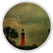 Textured Lighthouse Round Beach Towel