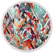Textured Structural Abstract Round Beach Towel