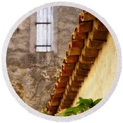Textures In A Provence Village Round Beach Towel