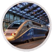 Tgv At The Train Station  Round Beach Towel