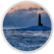 Thacher Island Lighthouse Seagull Passes Round Beach Towel