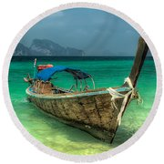 Thai Boat  Round Beach Towel
