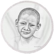 Thai Boy Round Beach Towel