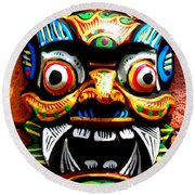 Thai Buddhist Mask Round Beach Towel
