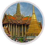 Thai-khmer Pagoda And Golden Chedis At Grand Palace Of Thailand  Round Beach Towel
