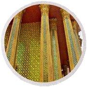 Thai-kmer Pagoda Columns At Grand Palace Of Thailand In Bangkok Round Beach Towel