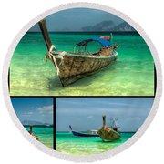 Thailand Longboats Round Beach Towel