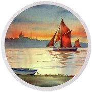 Thames Barge At Maldon Essex Round Beach Towel