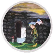 Thank You Again Hand Embroidery Round Beach Towel