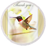 Thank You Card - Bird - Hummingbird Round Beach Towel