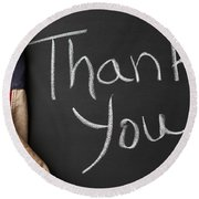 Thank You Sign On Chalkboard Round Beach Towel