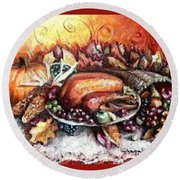 Thanksgiving Autumnal Collage Round Beach Towel