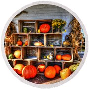 Thanksgiving Pumpkin Display No. 1 Round Beach Towel