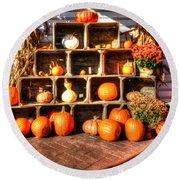 Thanksgiving Pumpkin Display No. 2 Round Beach Towel