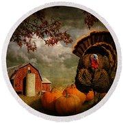 Thanksgiving Turkey Among Pumkins Round Beach Towel