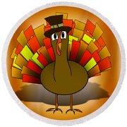Thanksgiving Turkey Pilgrim Round Beach Towel