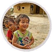 Tharu Village Children Love To Greet Us-nepal- Round Beach Towel