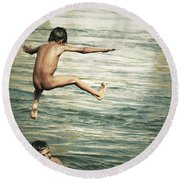 That Was A Great Day Round Beach Towel