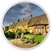Thatched Cottages At Great Tew  Round Beach Towel