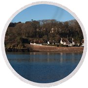 Thatched Cottages In A Town, Dunmore Round Beach Towel