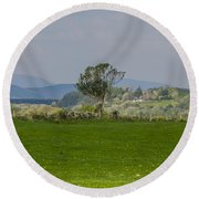 Thatched Roof - County Mayo Ireland Round Beach Towel