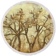 Thats A Lot Of Great Blue Heron Round Beach Towel