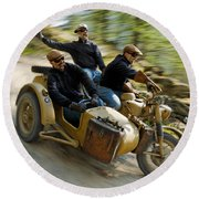 That's The Way To Ride An Army Bmw R75  Round Beach Towel
