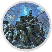 The 107th Infantry Memorial Sculpture Round Beach Towel