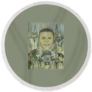 The 44th President And The Media Round Beach Towel