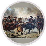 The 8th Napoleonic Cavalry Regiment Charging Into Battle  Round Beach Towel