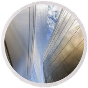 The Abstract Curves Of The Disney Concert Hall Round Beach Towel