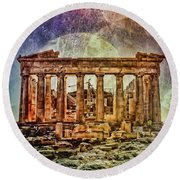 The Acropolis Of Athens Round Beach Towel