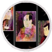 The Actors Sawamura-otani Oniji And Ichikawa Yaozo Round Beach Towel