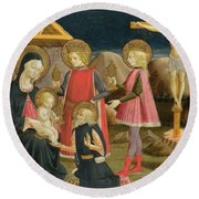 The Adoration Of The Kings And Christ On The Cross Round Beach Towel