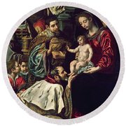 The Adoration Of The Magi, 1620 Oil On Canvas Round Beach Towel