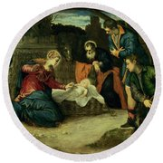 The Adoration Of The Shepherds, 1540s Round Beach Towel