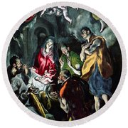 The Adoration Of The Shepherds From The Santo Domingo El Antiguo Altarpiece Round Beach Towel