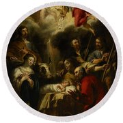 The Adoration Of The Shepherds Round Beach Towel by Jan Cossiers