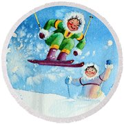 The Aerial Skier - 10 Round Beach Towel by Hanne Lore Koehler