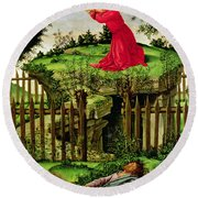 The Agony In The Garden, C.1500 Oil On Canvas Round Beach Towel