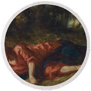 The Agony In The Garden Round Beach Towel