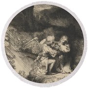 The Agony In The Garden Round Beach Towel by Rembrandt
